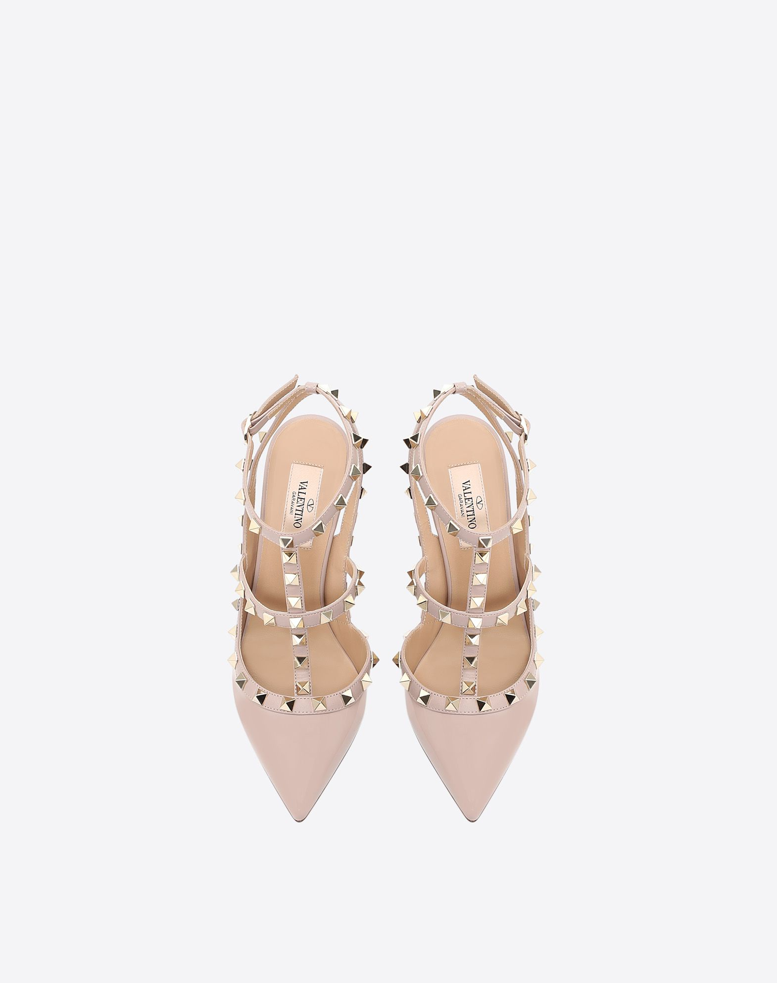 VALENTINO Spike heel Varnished effect Studs Wrapping straps closure Narrow toeline Leather sole  45350557sh