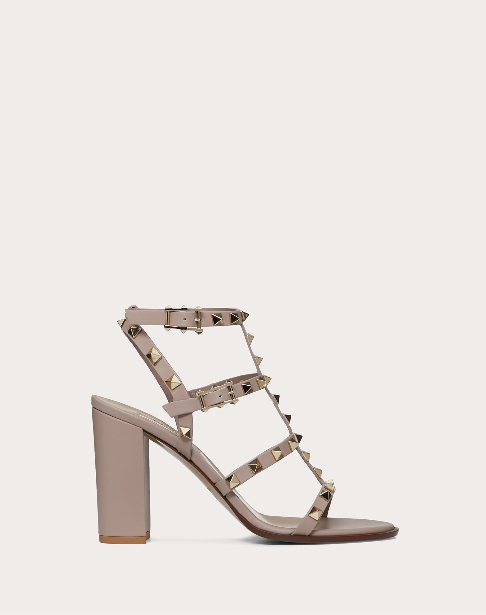 VALENTINO Studs Round toeline Leather sole Buckle Square heel  45350576nu