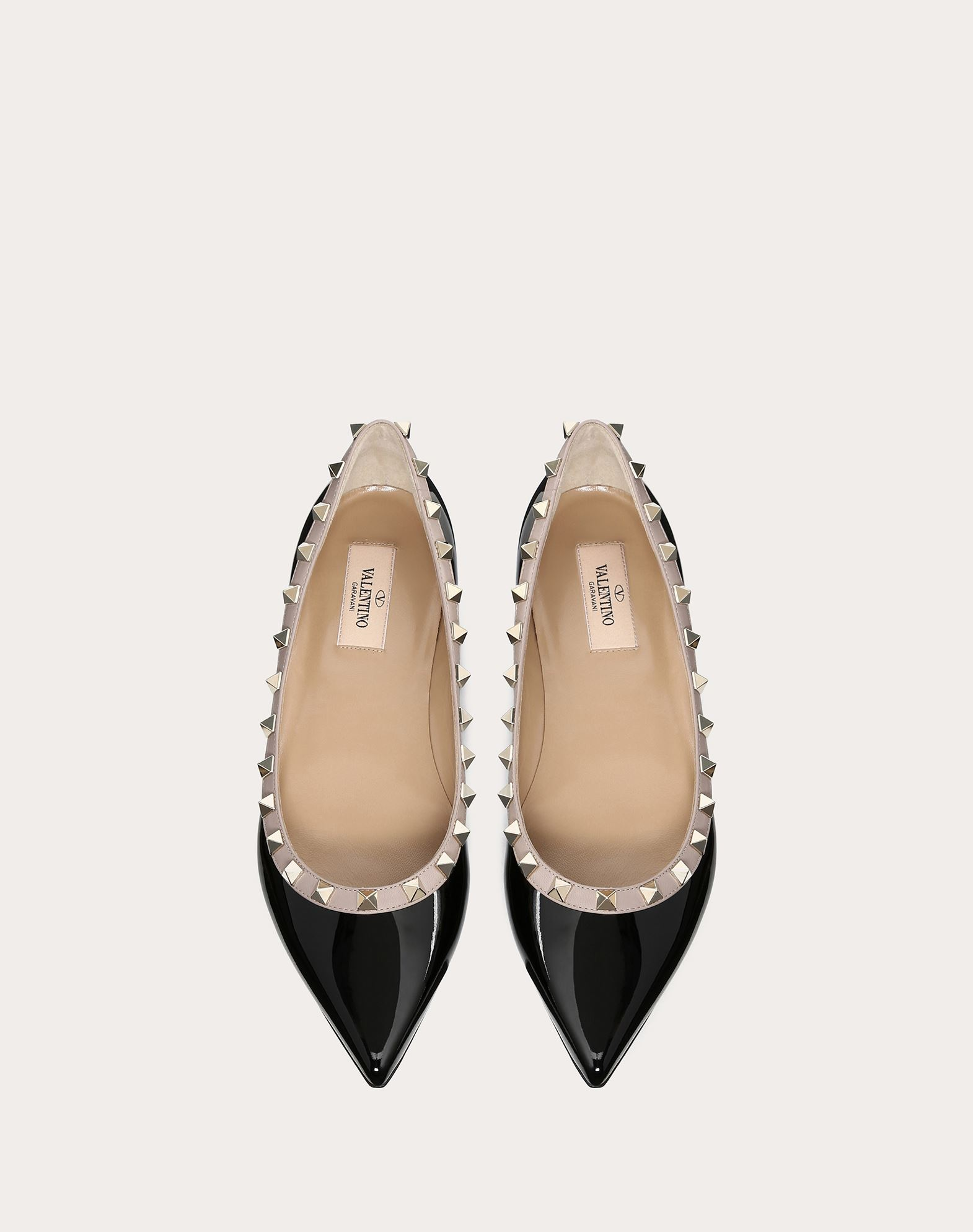 VALENTINO Varnished effect Studs Narrow toeline Leather sole  45350591xw