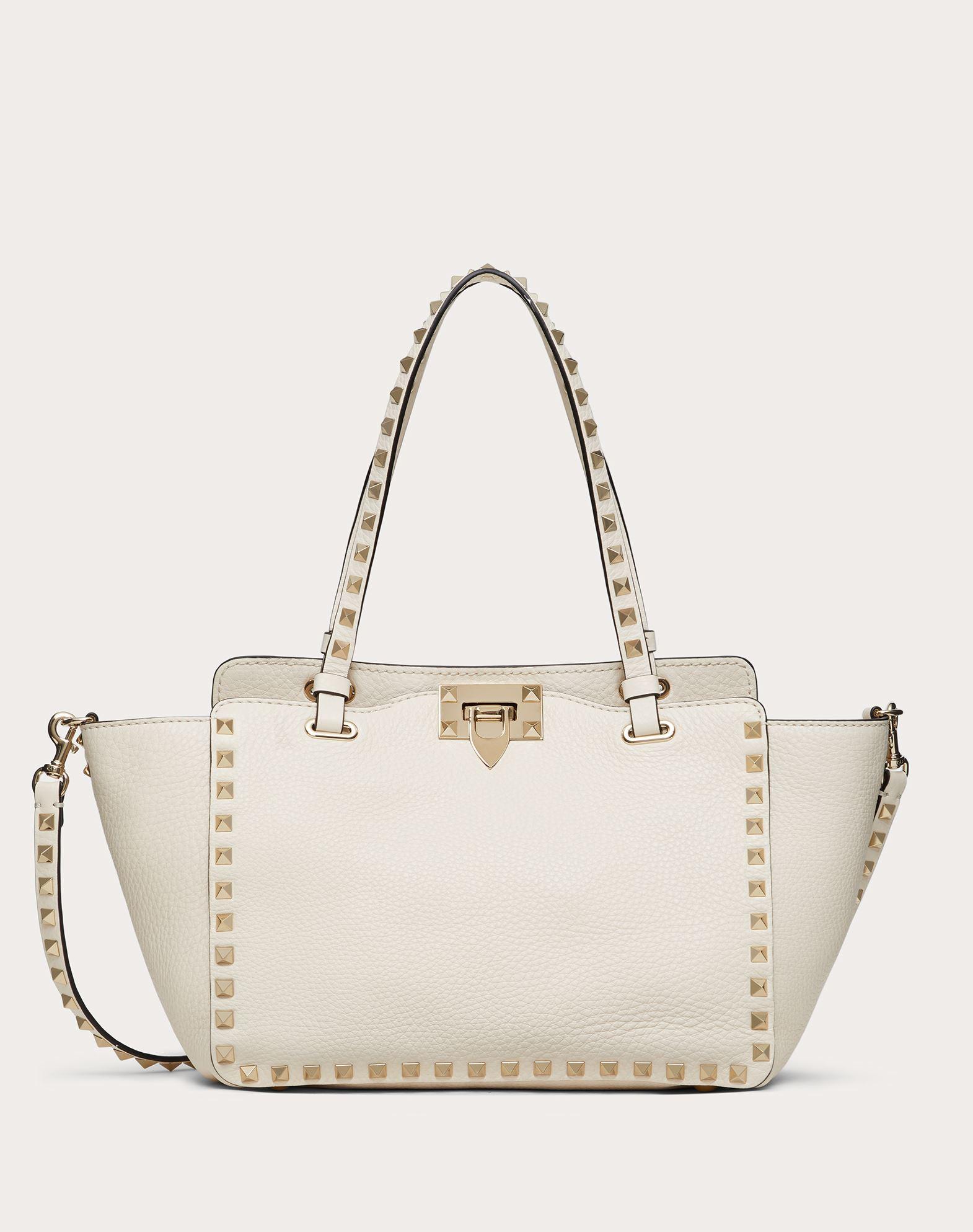VALENTINO Textured leather Logo Studs Framed closure Internal zip pocket Removable shoulder strap Handbags Medium  45350628af