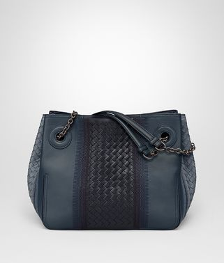 MEDIUM TOTE BAG IN KRIM DENIM EMBROIDERED NAPPA