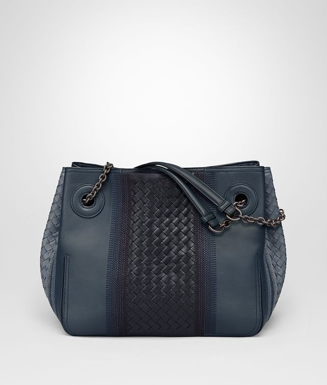BOTTEGA VENETA MEDIUM TOTE BAG IN KRIM NEW DENIM NAPPA LEATHER Borsa Shopping D fp