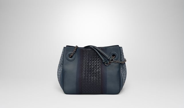 MEDIUM TOTE BAG IN KRIM DENIM EMBROIDERED NAPPA LEATHER