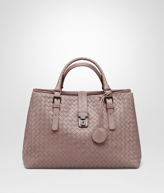 MEDIUM ROMA BAG IN DESERT ROSE INTRECCIATO CALF