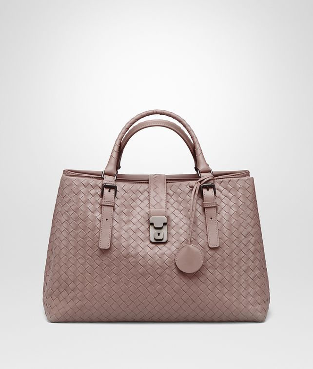 BOTTEGA VENETA MEDIUM ROMA BAG IN DESERT ROSE INTRECCIATO CALF Top Handle Bag D fp
