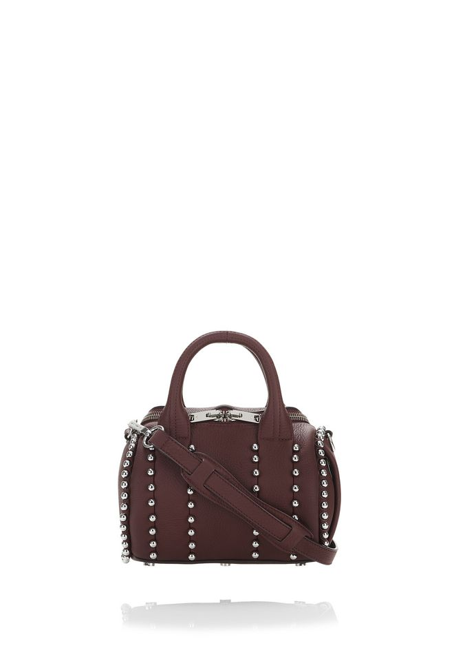 ALEXANDER WANG rockie-rocco EXCLUSIVE BALL STUD MINI ROCKIE IN MATTE BEET WITH RHODIUM