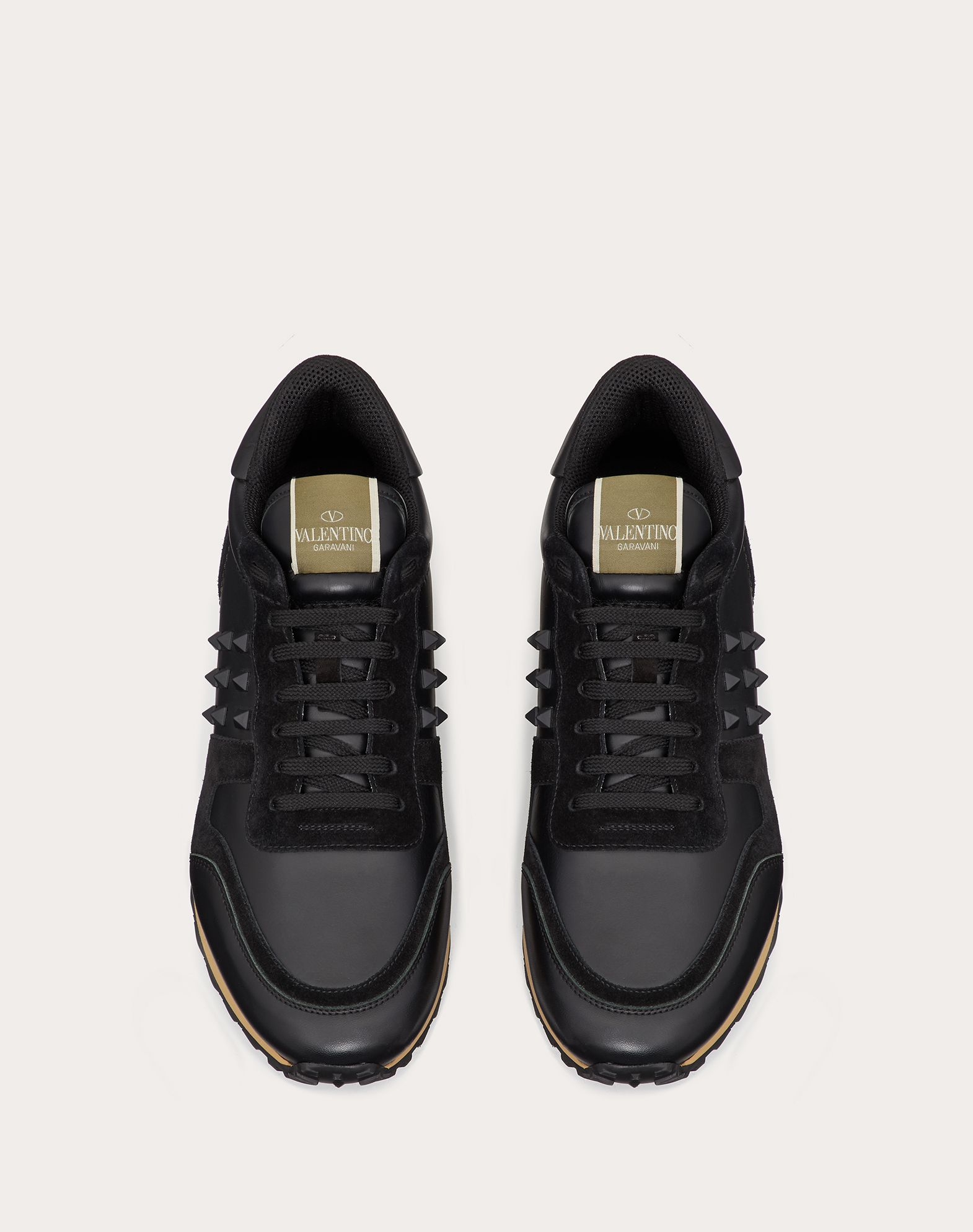VALENTINO Sueded effect Solid colour Logo Round toeline Laces Rubber sole Studs  45351083pa