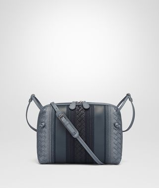 MESSENGER BAG IN KRIM DENIM EMBROIDERED NAPPA LEATHER, INTRECCIATO DETAILS