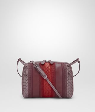 MESSENGER BAG IN GLICINE BAROLO EMBROIDERED NAPPA LEATHER, INTRECCIATO DETAILS