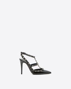 VALENTINO GARAVANI HIGH HEEL PUMPS D Rockstud Noir Ankle Strap Pump f