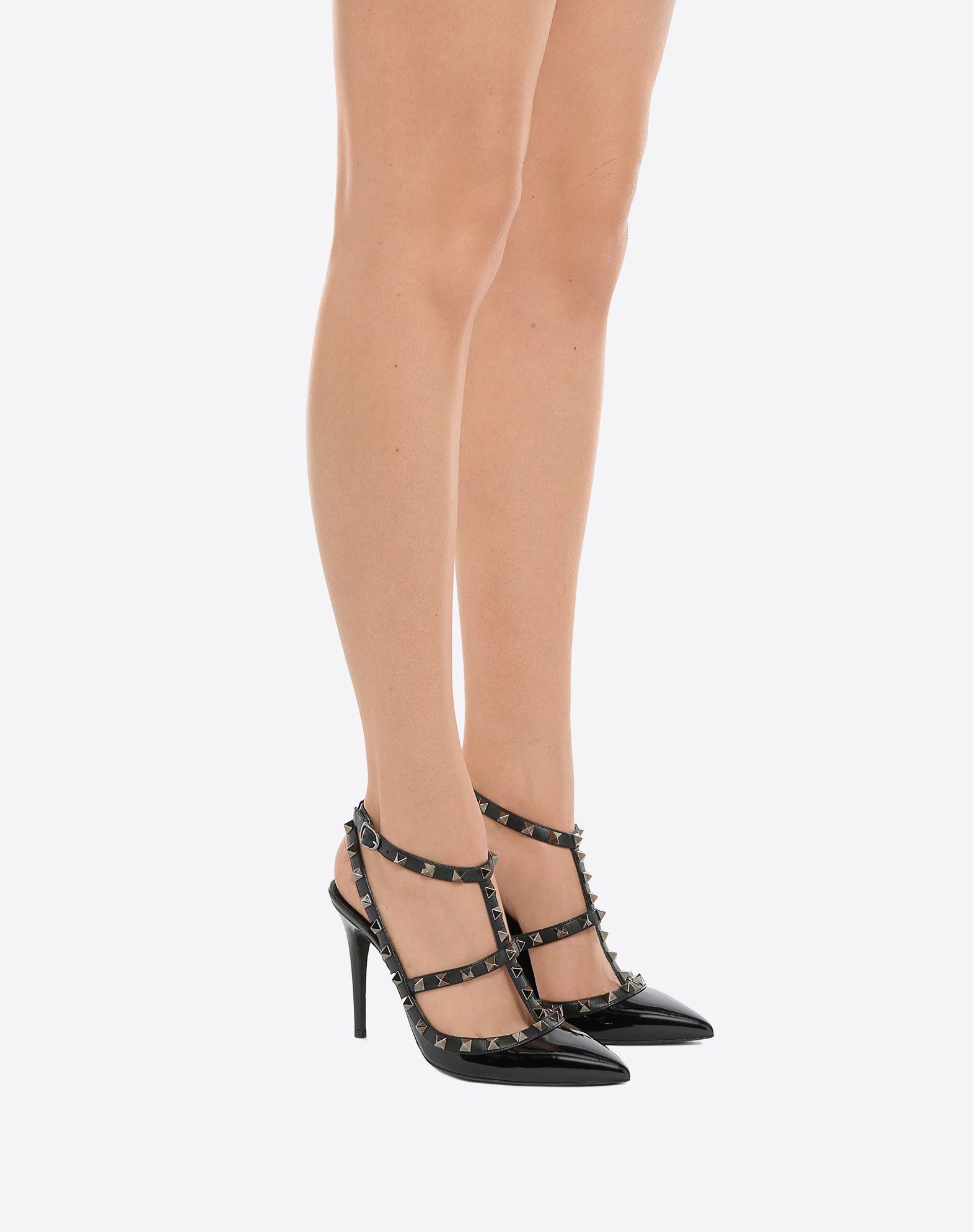 VALENTINO GARAVANI Rockstud Noir Ankle Strap Pump HIGH HEEL PUMPS D a