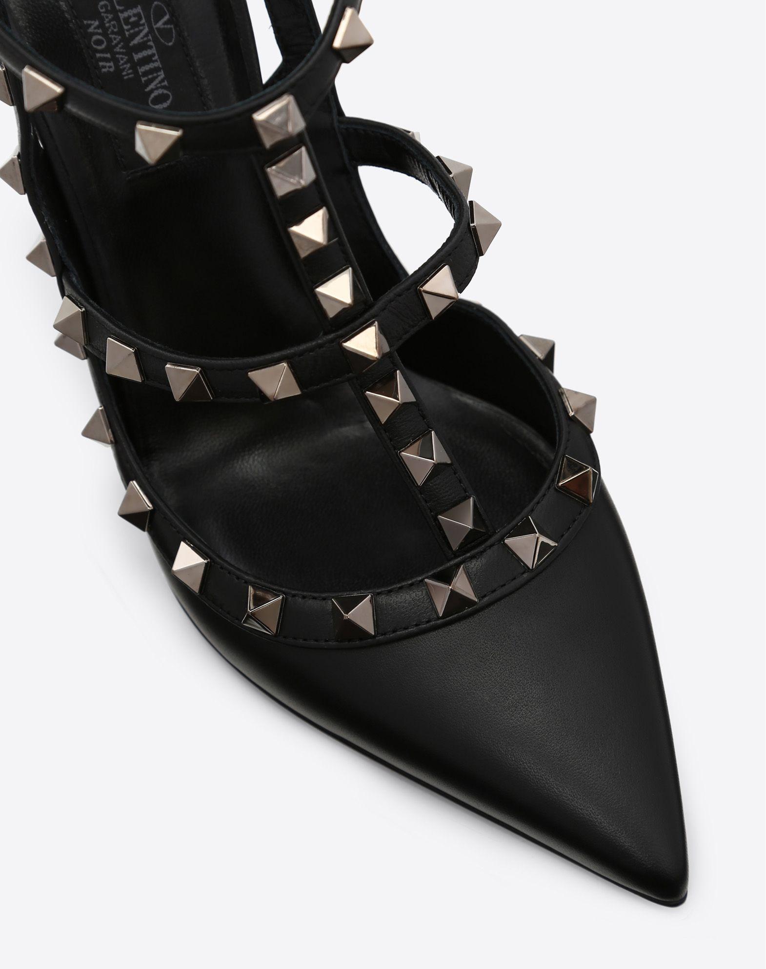 VALENTINO GARAVANI Rockstud Noir Ankle Strap Pump HIGH HEEL PUMPS D b