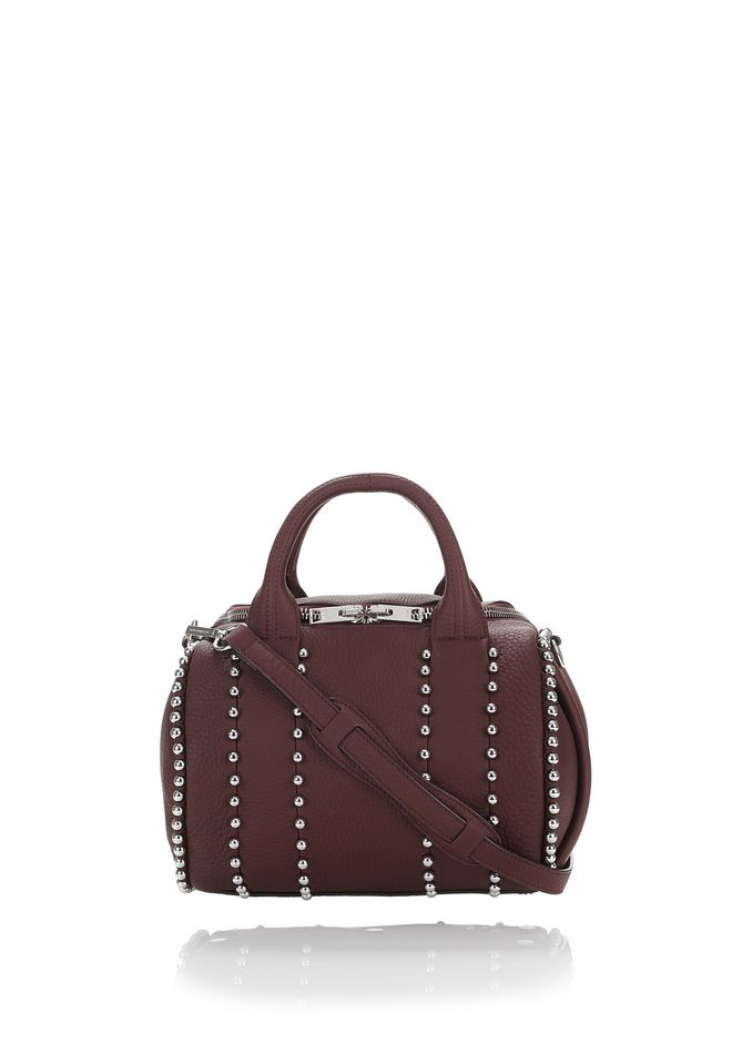 ALEXANDER WANG rockie-rocco EXCLUSIVE BALL STUD ROCKIE IN MATTE BEET WITH RHODIUM