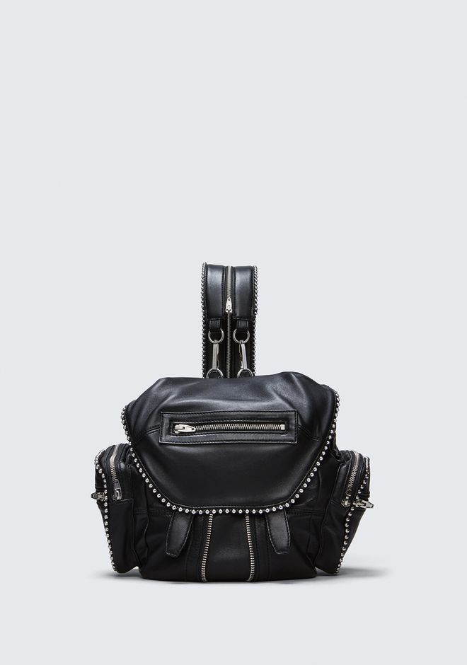 ALEXANDER WANG BACKPACKS Women BALL STUD MINI MARTI IN BLACK WITH RHODIUM