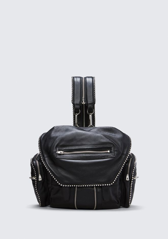 ALEXANDER WANG BACKPACKS Women BALL STUD MARTI IN BLACK WITH RHODIUM