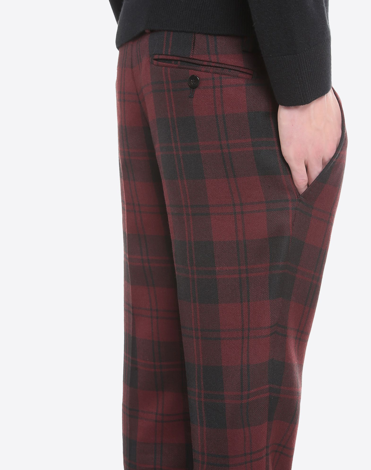 VALENTINO Flannel Checked design Hook-and-bar, button fly closure Multipockets  45351629rn