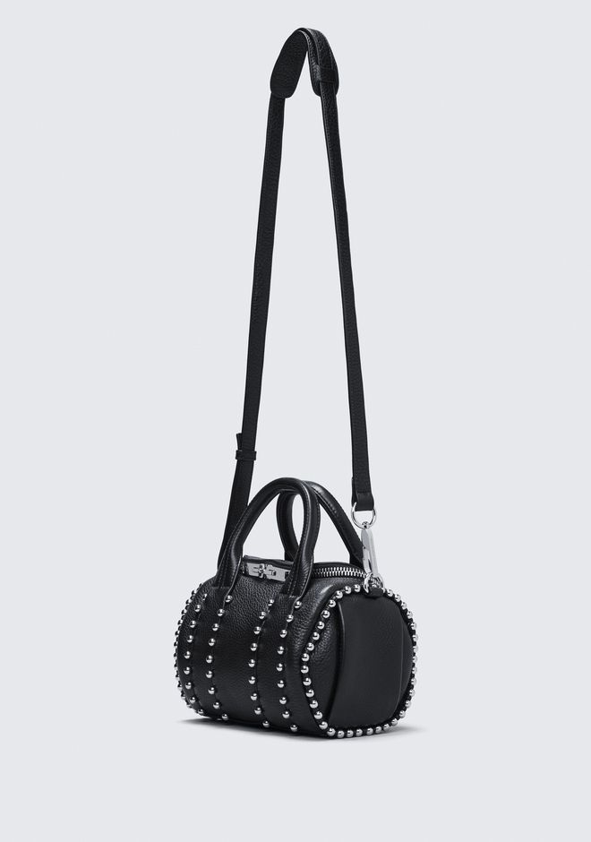 ALEXANDER WANG BALL STUD MINI ROCKIE IN MATTE BLACK WITH RHODIUM  Sac porté épaule Adult 12_n_e