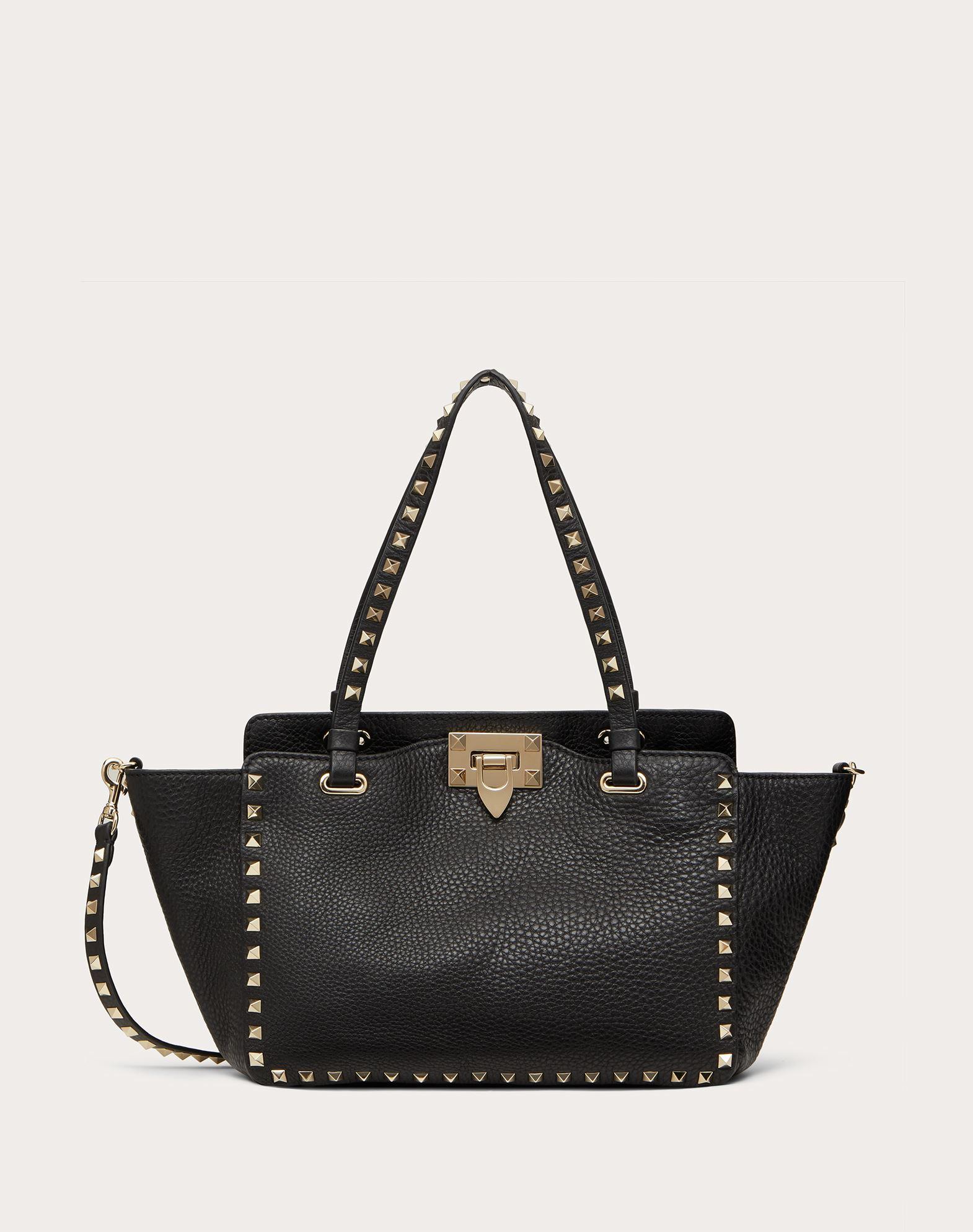 VALENTINO Studs Leather Logo Studs Solid colour Internal zip pocket Removable shoulder strap  45351799ah