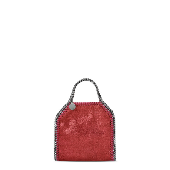 Falabella Tiny Tote in Chamois Lucido Color Rosso India a Puntini