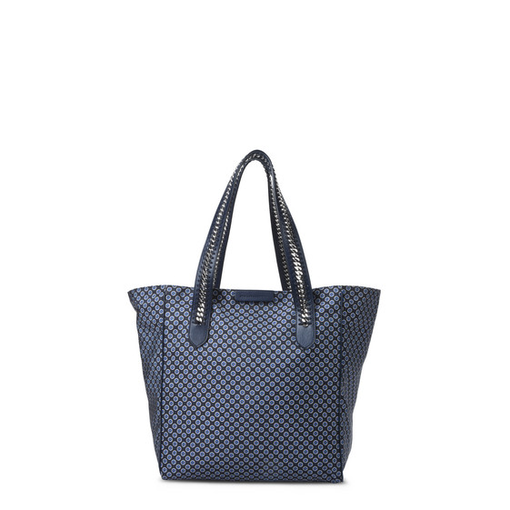 Blue Tie Print Falabella GO Shoulder Bag