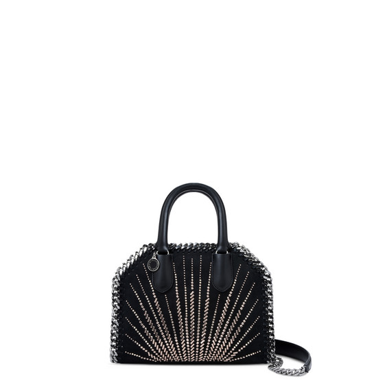 Black Falabella Box Mini Eco Suede Top Handle Bag