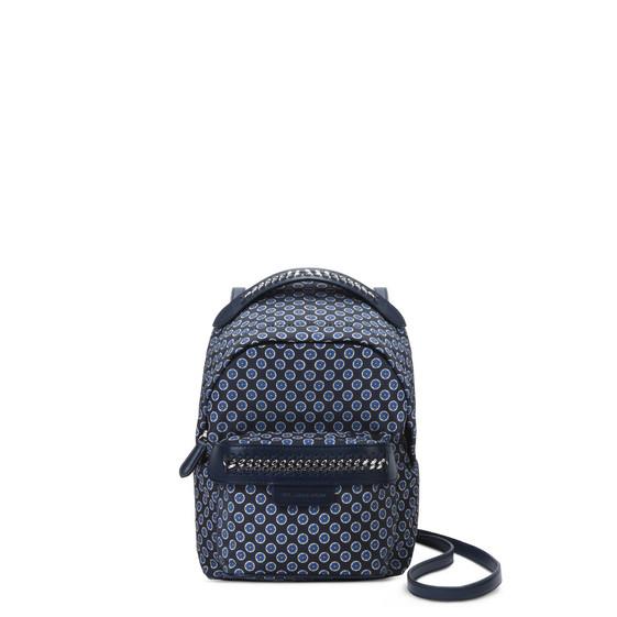 Mini-sac à dos Falabella GO avec imprimé cravate bleu