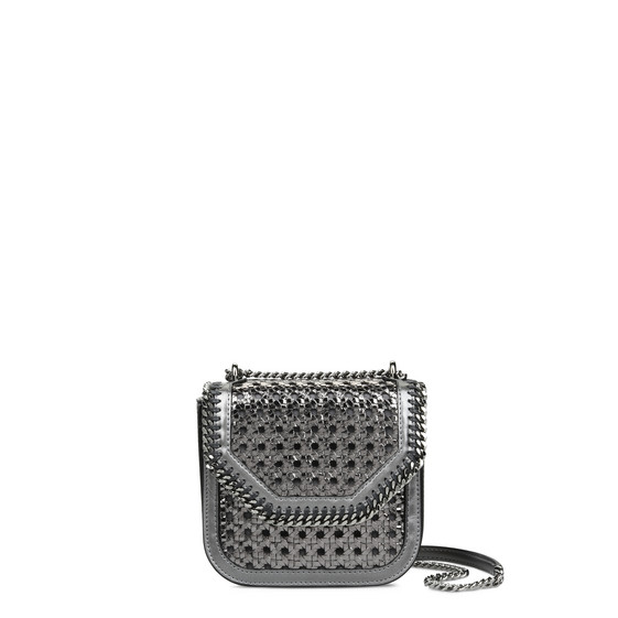 Borsa a Spalla Mini Falabella Box Wicker Metallizzata