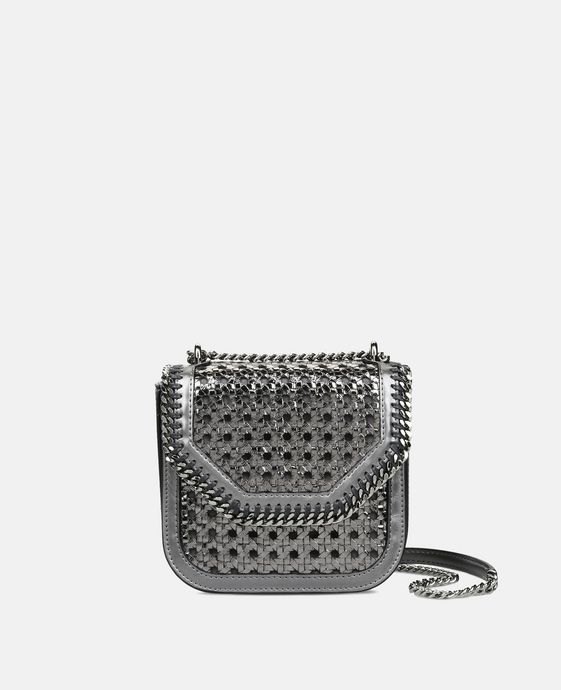 Metallic Falabella Box Wicker Mini Shoulder Bag
