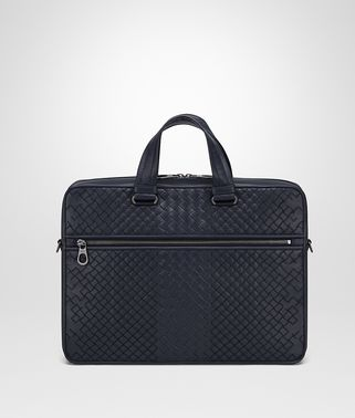 BRIEFCASE IN PRUSSE INTRECCIO AURELIO CALF , EMBROIDERY DETAILS