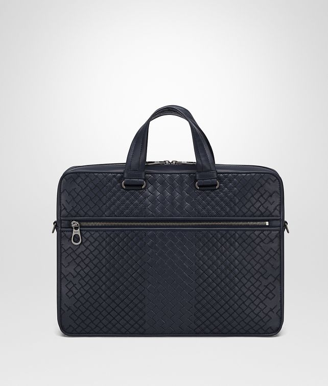 BOTTEGA VENETA BRIEFCASE IN PRUSSE INTRECCIO AURELIO CALF, EMBROIDERY DETAIL Business bag Man fp