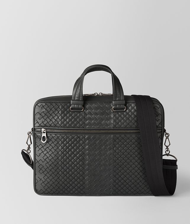 BOTTEGA VENETA BRIEFCASE IN ARDOISE INTRECCIO AURELIO CALF, EMBROIDERY DETAIL Business bag Man fp