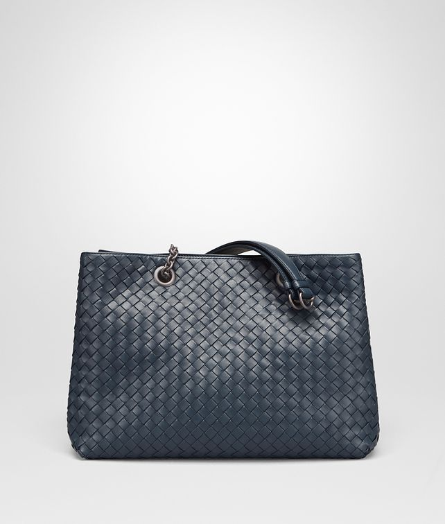 BOTTEGA VENETA BORSA SHOPPING MEDIA IN INTRECCIATO NAPPA DENIM Borsa Shopping D fp
