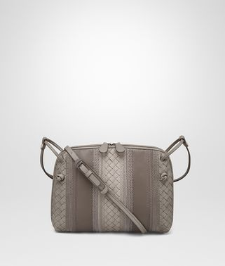 MESSENGER BAG IN FUME' STEEL EMBROIDERED NAPPA, INTRECCIATO DETAILS