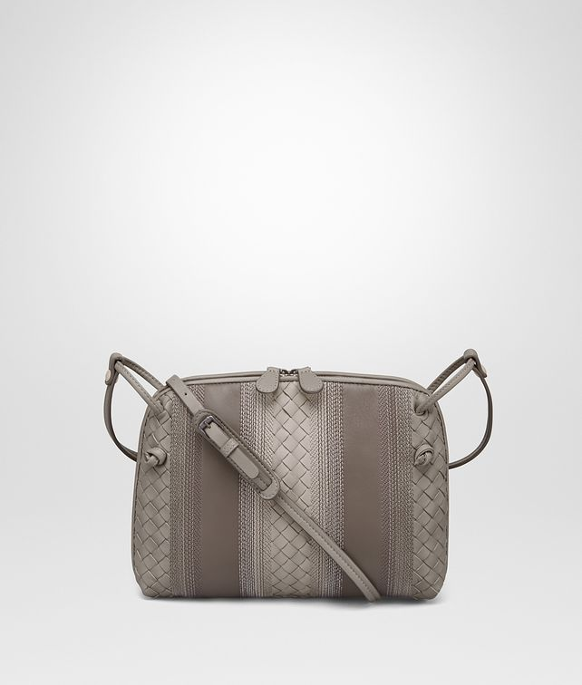 BOTTEGA VENETA MESSENGER BAG IN FUMÉ STEEL EMBROIDERED NAPPA LEATHER, INTRECCIATO DETAILS Crossbody bag D fp
