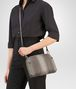 BOTTEGA VENETA MESSENGER BAG IN FUME' STEEL EMBROIDERED NAPPA, INTRECCIATO DETAILS Crossbody bag Woman ap