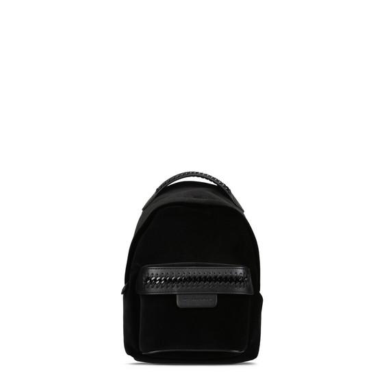 Mini-sac à dos Falabella GO en velours noir