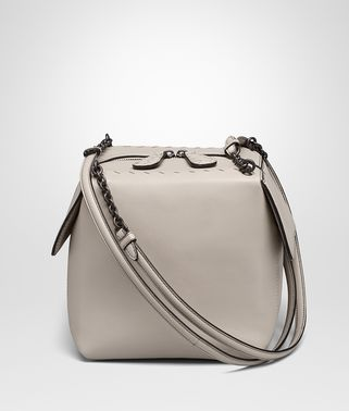 SMALL SHOULDER BAG IN CEMENT NAPPA LEATHER