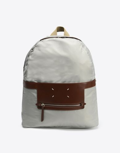 MAISON MARGIELA 11 Backpack U Nylon backpack with calfskin details f