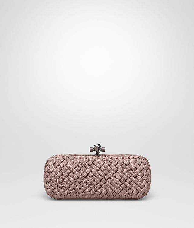 BOTTEGA VENETA STRETCH KNOT IN DESERT ROSE INTRECCIO FAILLE MOIRE Clutch D fp