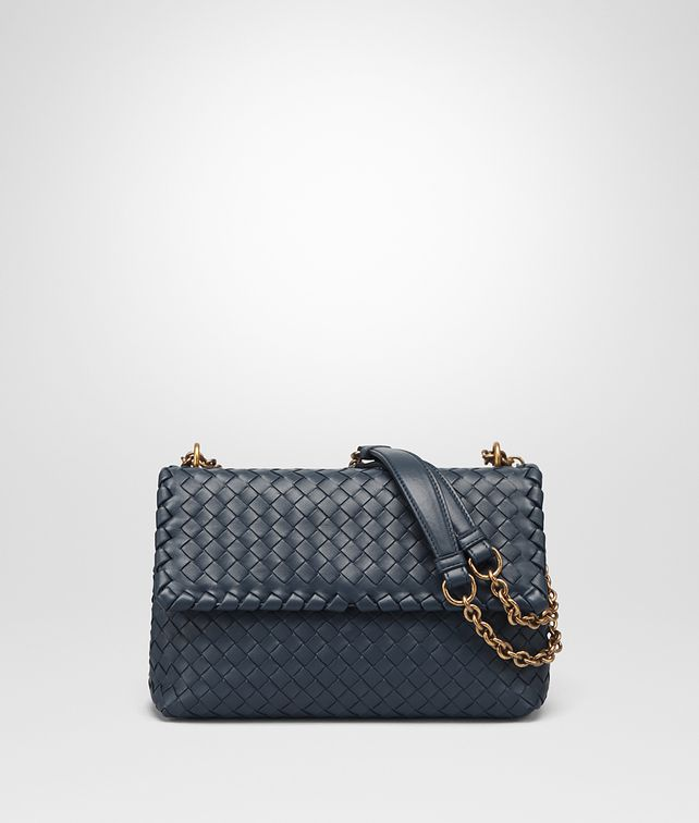 BOTTEGA VENETA SMALL OLIMPIA BAG IN DENIM INTRECCIATO NAPPA  Shoulder or hobo bag Woman fp