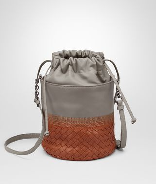 BUCKET BAG IN FUME' STEEL EMBROIDERED NAPPA, INTRECCIATO DETAILS