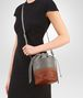 BOTTEGA VENETA BUCKET BAG IN FUME' STEEL EMBROIDERED NAPPA, INTRECCIATO DETAILS Crossbody bag Woman ap