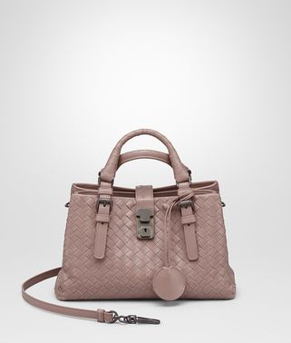 BORSA ROMA MINI IN VITELLO INTRECCIATO DESERT ROSE