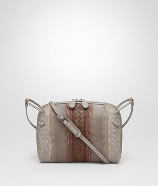 MESSENGER BAG IN FUME' STEEL DARK CALVADOS NAPPA LEATHER, INTRECCIATO DETAILS
