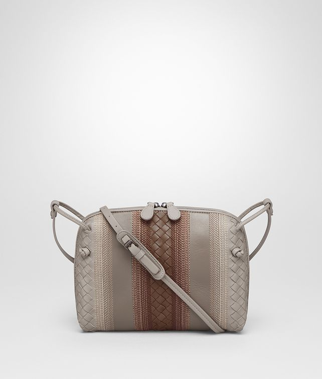 BOTTEGA VENETA MESSENGER BAG IN FUME' STEEL DARK CALVADOS NAPPA LEATHER, INTRECCIATO DETAILS Crossbody bag D fp