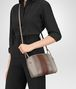 BOTTEGA VENETA MESSENGER BAG IN FUME' STEEL DARK CALVADOS NAPPA LEATHER, INTRECCIATO DETAILS Crossbody bag D ap