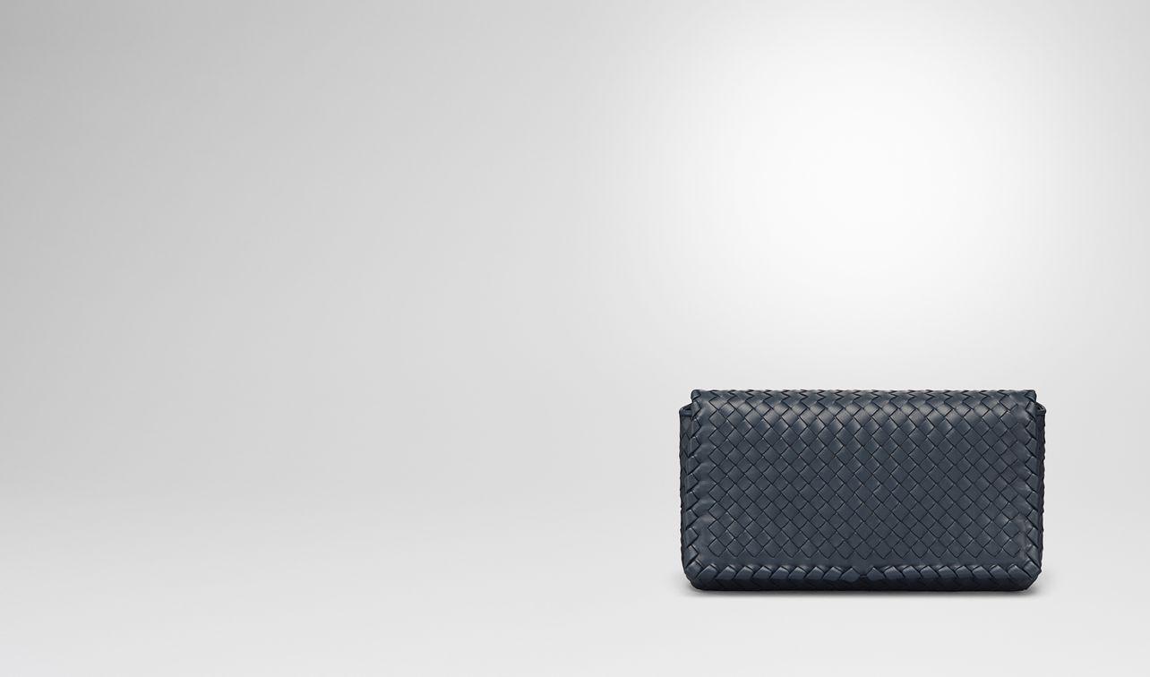 medium clutch bag in denim intrecciato nappa leather landing