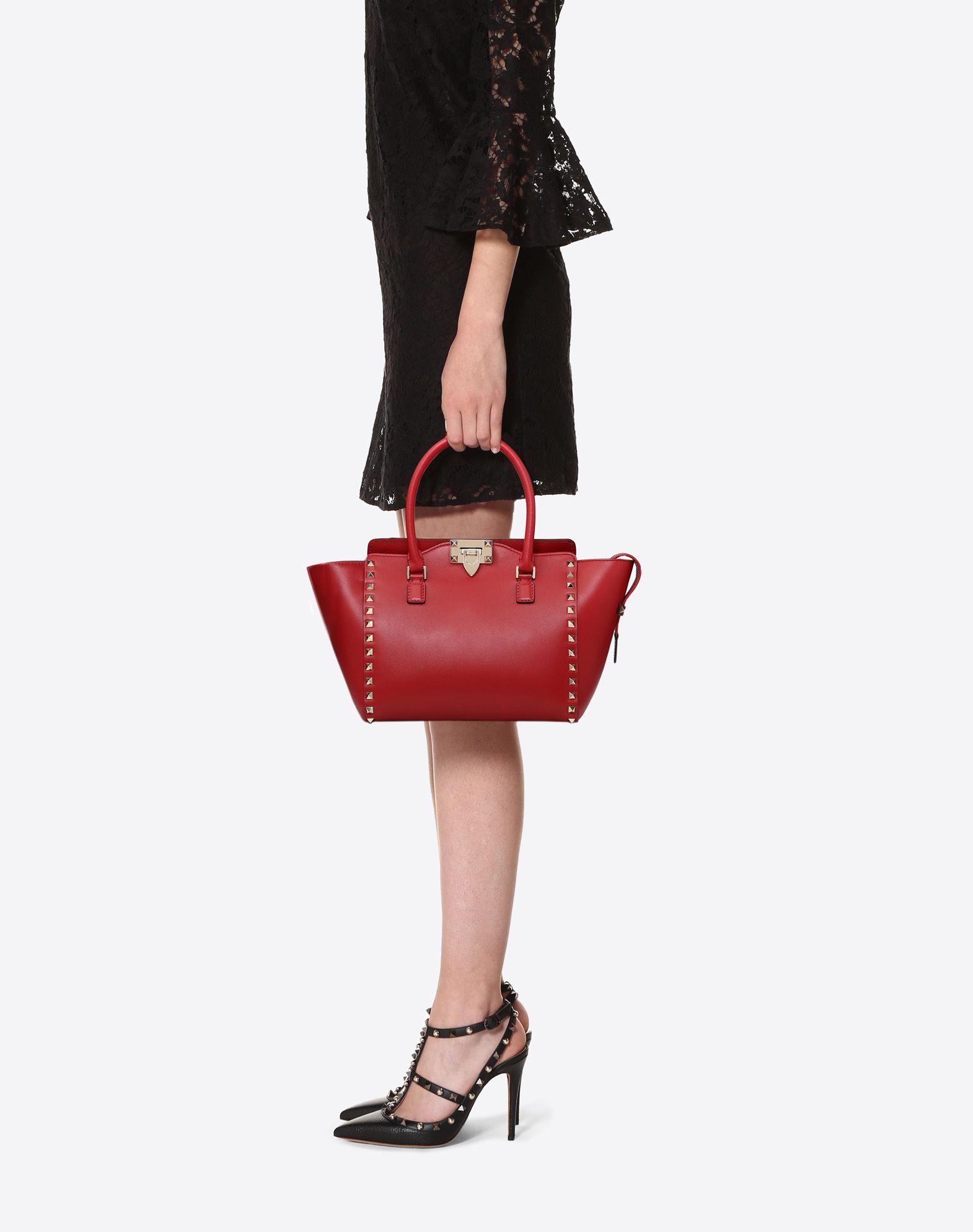VALENTINO GARAVANI Rockstud Small Double Handle Bag HANDBAG D a