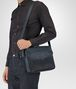 BOTTEGA VENETA MESSENGER BAG IN DENIM TOURMALINE EMBROIDERED NAPPA LEATHER, INTRECCIATO DETAIL Messenger Bag Man ap