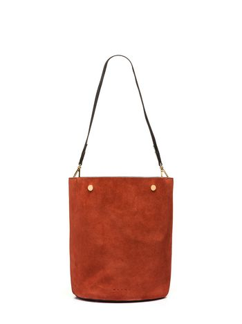 Marni BUCKET bag in brown split leather Woman
